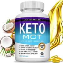 Keto Mct Oil Softgels Advanced Ketosis Diet - 2000 Mg Natural Pure Coconut Oil Extract Pills for Ketogenic & Ketone Diet, Easy to Digest Fuel for Energy & Brain, Men Women, 90 Softgels, Lux Supplement
