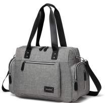 KZNI Diaper Bag, Travel Carry bag, Baby Nappy Diaper Bag for Mom Grils Unisex Maternity, Diaper Beach Bag, Multi Pockets Travel Handbag Large(Grey)
