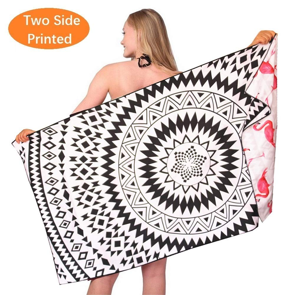 Microfiber Thin Lightweight Beach Towel-Large Quick Dry Super Absorbent Sand Free Bath Towels Blanket for Travel Swimming Girls Women Men Adults Black White Mandala Flamingo