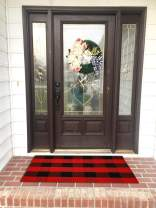Ukeler Buffalo Plaid Outdoor Rugs Washable- Cotton Red and Black Rug for Front Porch/Kitchen/Sink/Bathroom/Laundry Room Farmhouse Welcome Door Mat Layered Doormat, 2'×4'2