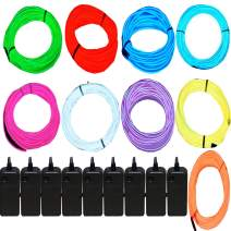 9 Pack - Jytrend 9ft Neon Light El Wire w/Battery Pack (Blue, Green, Red, White, Orange, Purple, Pink, Yellow, Aqua)