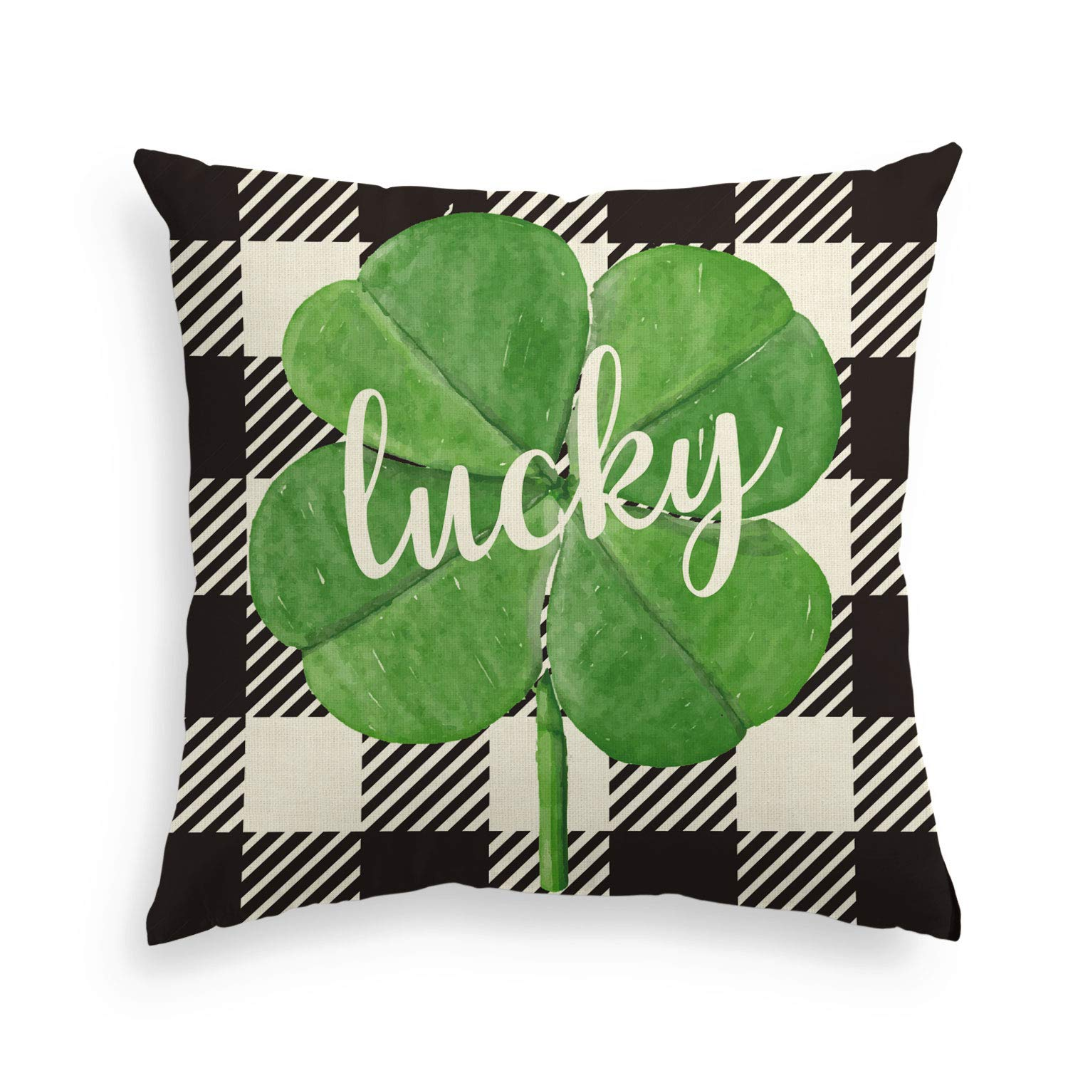 AVOIN Black and White Buffalo Plaid Shamrock Throw Pillow Cover, 18 x 18 Inch St Patrick's Day Lucky Clover Linen Cushion Case Decoration for Sofa Couch