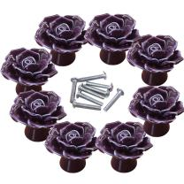 CSKB Rose Ceramic Door Knob Handle Pull Knobs for Room Drawer, Cabinet, Chest, Bin, Dresser, Cupboard, Etc with Screws (8PCS, Purple)