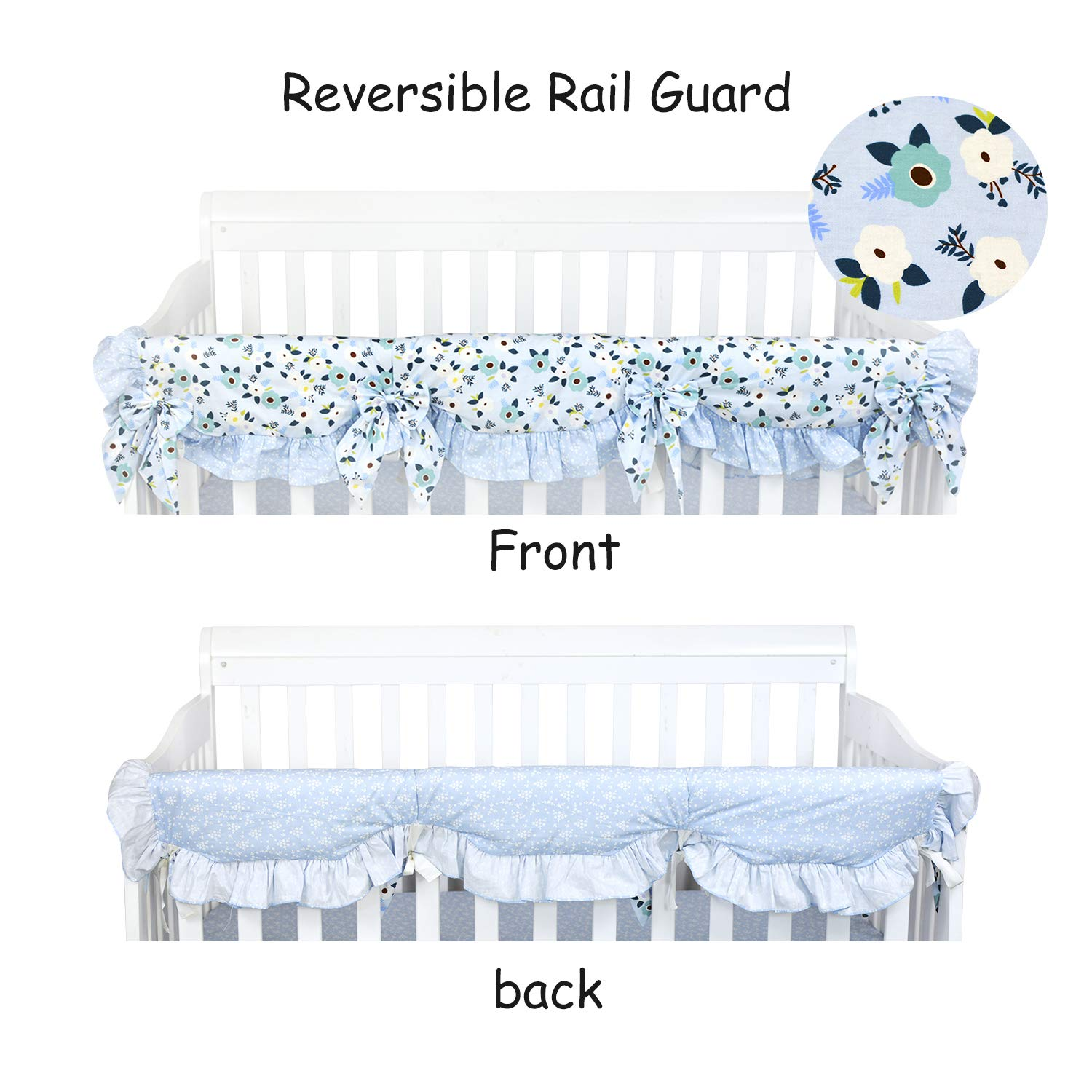 Brandream Baby Girls Crib Rail Cover Boho Floral Long Front Crib Rail Guard 100% Cotton Ruffle Baby Teething Cover Floral Collection, Blue/Purple