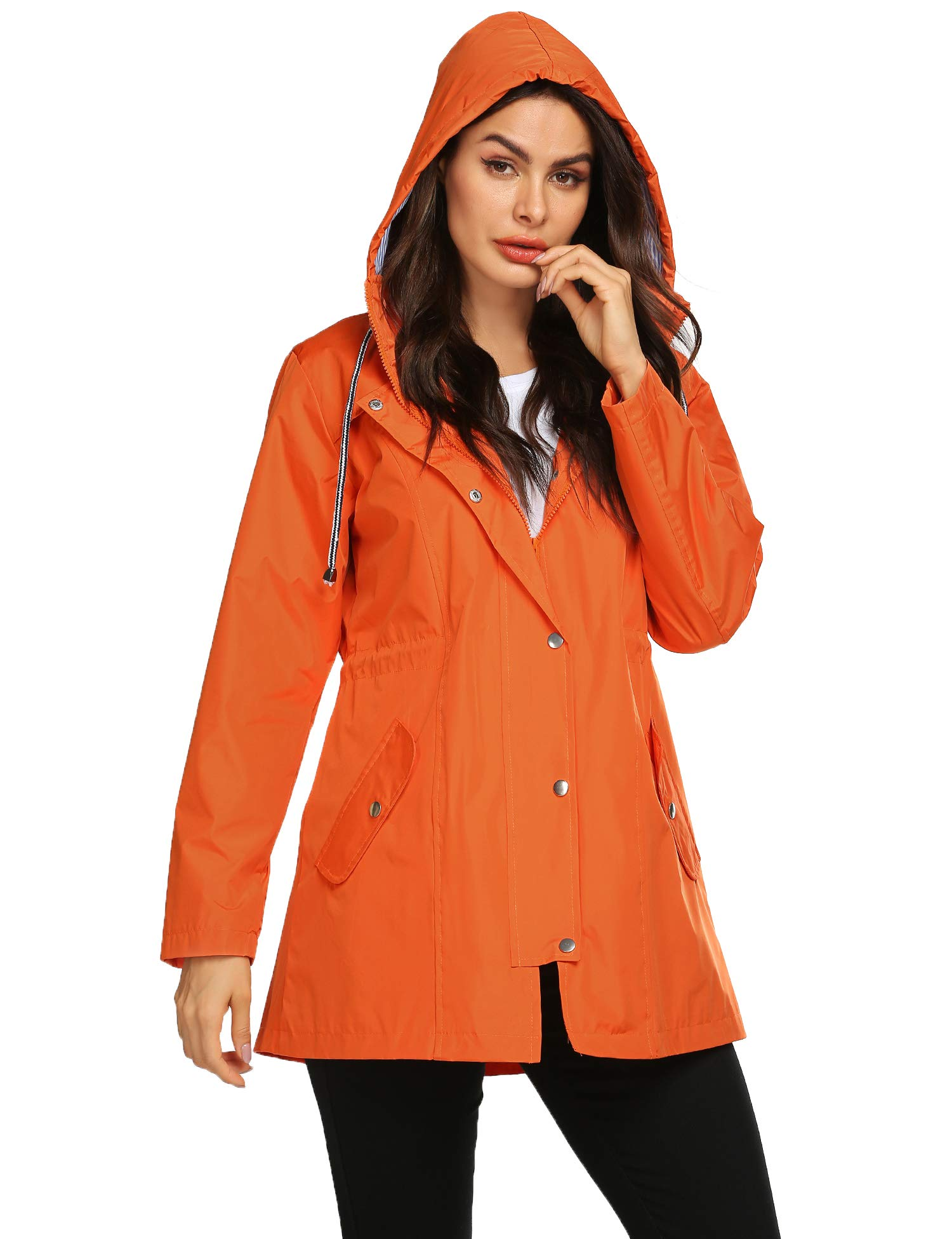 Avoogue Women Raincoat Waterproof Striped Lined Lightweight Jacket with Hood Long Fashion Outdoor Jacket