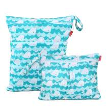 Damero 2Pcs Wet Dry Bag with 2 Zippered Pockets and Snap Handle for Cloth Diaper, Swimsuit, Clothes, Ideal for Travel, Exercise, Daycare, Roomy and Water-Resistant (Small+Large,Cute Whale)