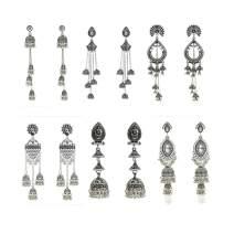 Indian Jhumka Jhumki Dangle Earrings - 6PAIR/SET Gold Silver Tassel Bell -shaped Stud Earrings for Women