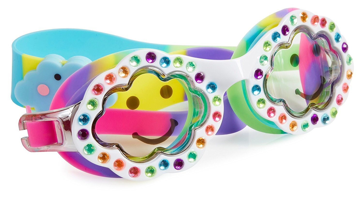 Cloud Swimming Goggles for Kids by Bling2O - Anti Fog, No Leak, Non Slip and UV Protection - White Cloud Colored Fun Water Accessory Includes Hard Case