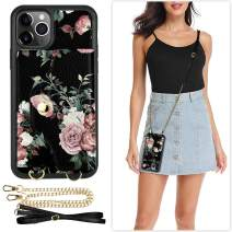 LAMEEKU iPhone 11 Pro Wallet Case, iPhone 11 Pro Case with Card Holder Wallet Protective Leather Cover with Crossbody Chain Strap Wrist Strap for iPhone 11 Pro, 5.8''-Floral Pink-White