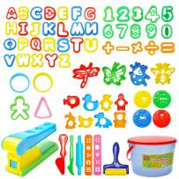 Mysterystone 69 Pcs  Kit Clay Dough Party Pack with Letters, Numbers, Operator, Doh Extruder Machine, Stamps, Cutters, Molds- Mega Tool Playset in Storage Bucket (Random Color), Multicolor