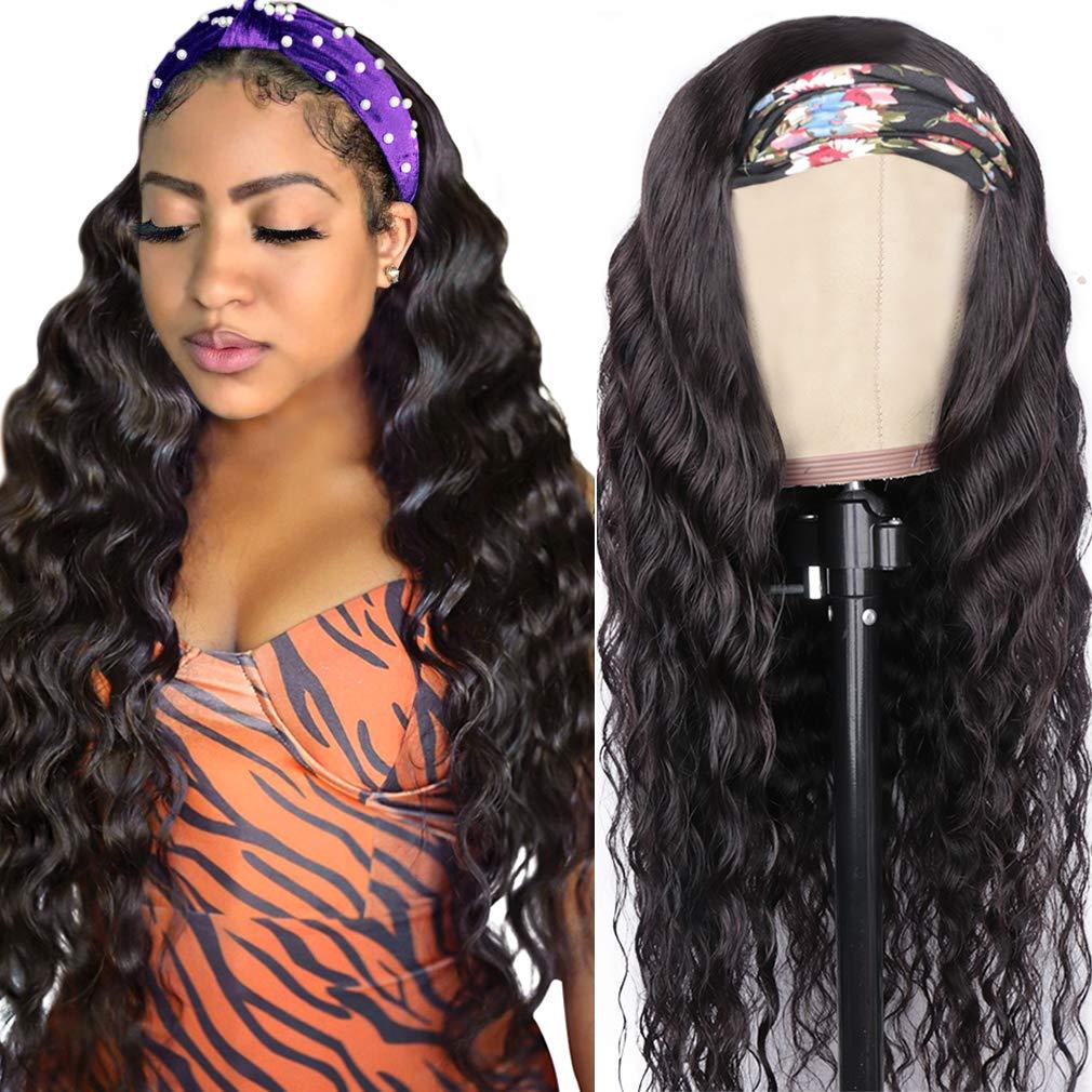 Goldfinch Loose Deep Wave Headband Wig Human Hair Loose Deep Curly Headband Wig for Black Women None Lace Machine MadeHalfWig with Headband 150% Density 18 Inches