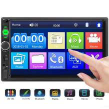 """DIYOO Android Double Din MP5 Audio Carplay, Double Din Head Unit with 7"""" Touchscreen Digital LCD Monitor 2 Din Car Radio Wireless Remote Control Hands Free Multimedia, Support TF/FM/AUX/USB"""