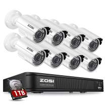 ZOSI H.265+1080p Home Security Camera System Outdoor Indoor, 1080N Security DVR 8 Channel with Hard Drive 1TB and 8 x 1080p Surveillance Bullet Camera, Remote Access, Motion Detection