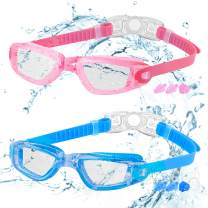Kids Swim Goggles, 2 Packs Crystal Clear Swimming Goggles for Kids, and Teens