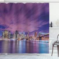 """Ambesonne Modern Shower Curtain, New York City Skyline at Night with Skyscrapers Manhattan USA American Panorama, Cloth Fabric Bathroom Decor Set with Hooks, 75"""" Long, Violet Purple"""