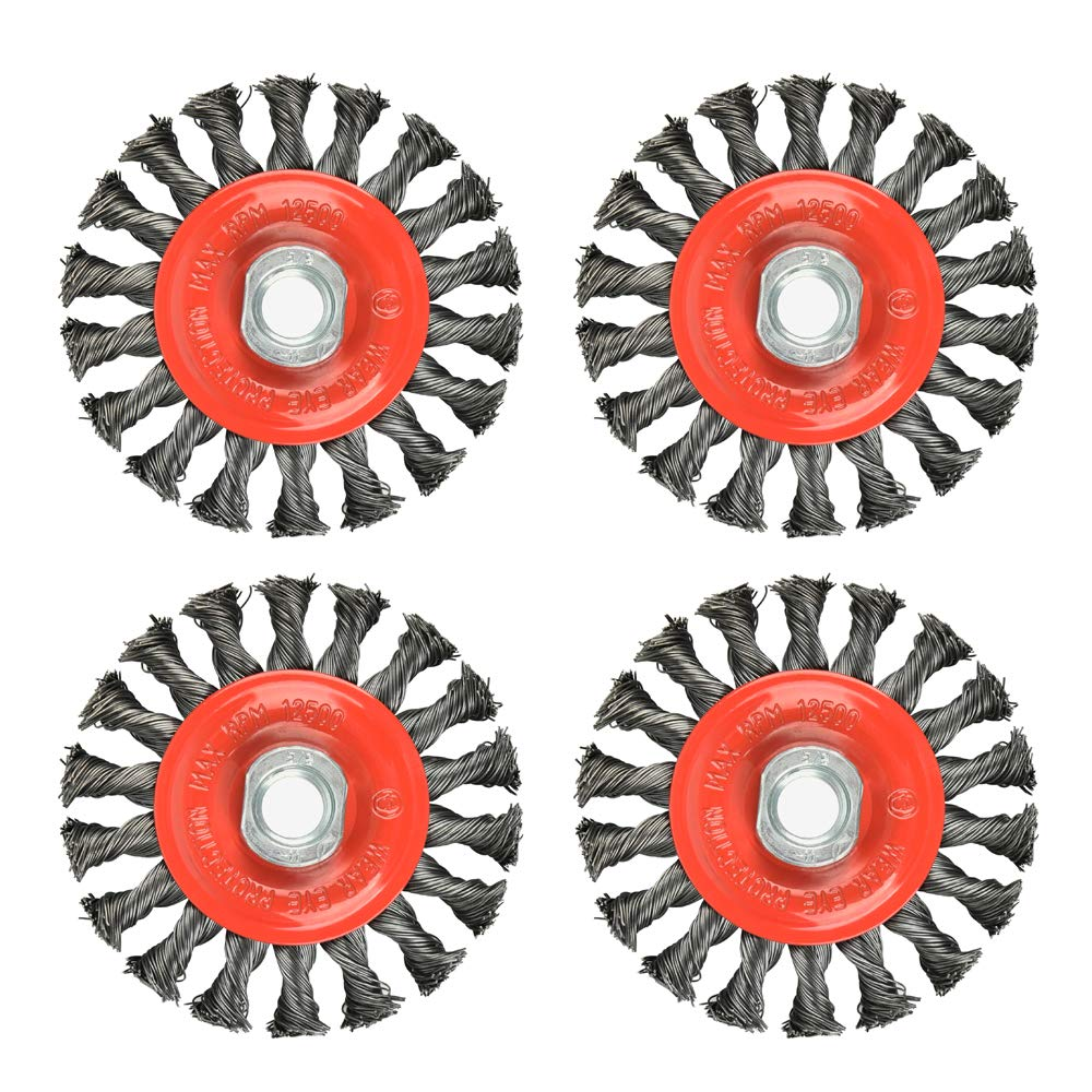 """4 Pack 4 Inch Twist Knotted Wire Cup Brush, Twist Wire Wheel for Grinders, 5/8""""-11 UNC"""