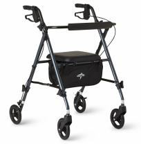 Medline Freedom Lightweight Folding Aluminum Mobility Rollator Walker with 6-inch Wheels, Adjustable Arms and Seat, Smoky Blue