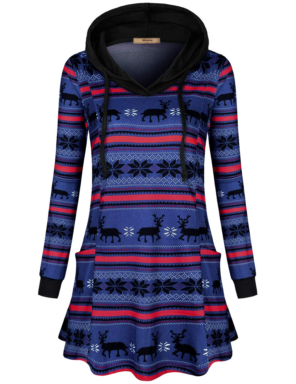 Miusey Womens Long Sleeve Drawstring Plaid Hoodies Tunic Sweatshirt with Pockets