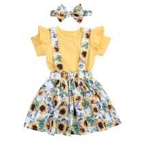 3PCS Toddler Baby Girls Clothes Ruffle Short Sleeve Top + Sunflower Skirt + Headband Outfit Floral Dress