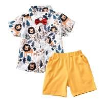 Baby Boy Summer Clothes Button-Down Short Sleeve Shirt Blouse + Shorts Pants 2Pcs Gentlemen Outfits Playwear Set