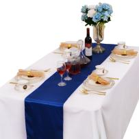 LOVWY Pack of 15 Satin Table Runner 12 x 108 Inches for Wedding Party Engagement Event Birthday Graduation Banquet Decoration (Colors Optional) (Royal Blue)