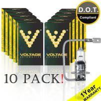 Voltage Automotive H3 Headlight Fog Light Bulb (10 Pack) - OEM Replacement Halogen High Beam Low Beam Foglight
