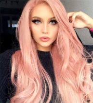 Long Pink Synthetic Mixed Wig,Showcoco Side Part Long Wavy Wig with Bangs,Orange Pink Wigs for Women