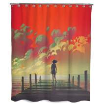 """Dimaka Red Shower Curtain for Girls and Kids, Bathroom Decoration Rustic Design Decor,Sea and Bridge Print Waterproof Farmhouse Long Natural Fabric Shower Curtain, (71"""" W x 71"""" L, Dusk)"""