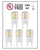 CBconcept UL Listed, 5 Pack, G8 LED Light Bulb (Shorter 35mm Length), 2 Watt, 220 Lumen, NOT Dimmable, Pure White 6000K, 360 degree Beam Angle, 20W Equivalent, JCD Halogen Replacement Bulb