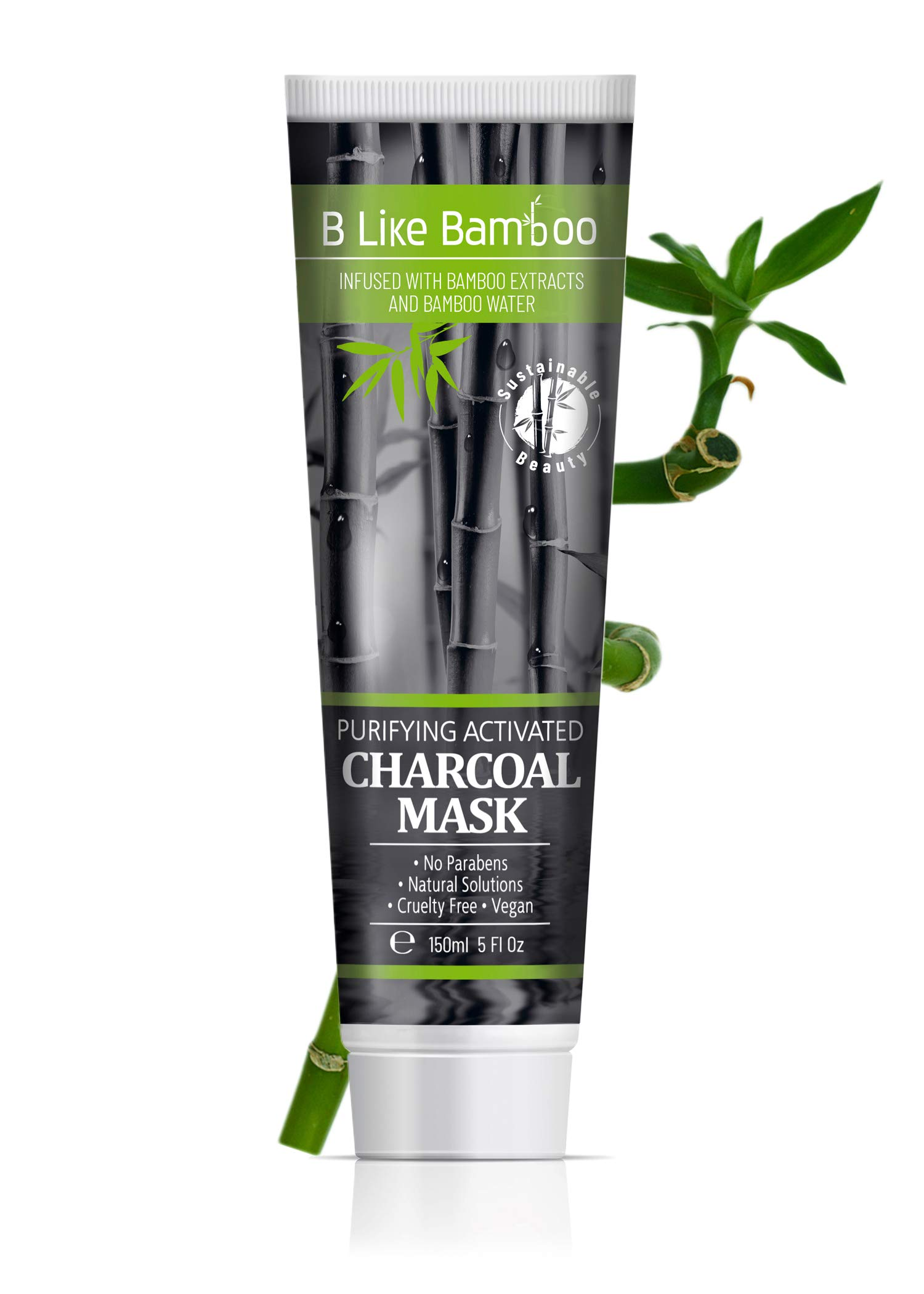 B Like Bamboo Purifying Activated Charcoal Face Mask with Organic Aloe Vera and Kaolin Clay | Pore Minimizer | Deep Cleansing | Acne | Blackhead | Oily Skin | Natural Skincare for Women & Men (5 oz)