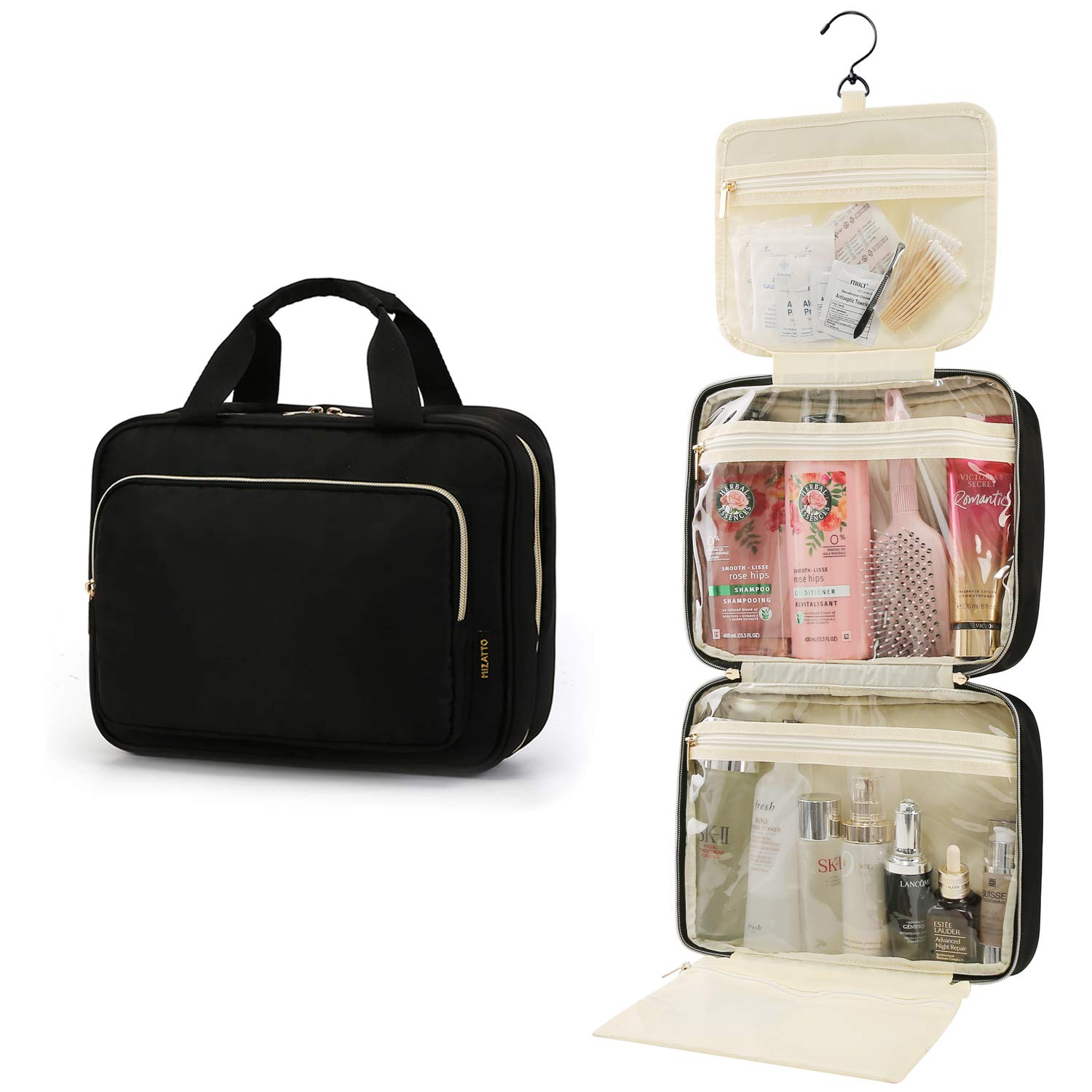 Large Toiletry Bag Travel Bag with Hanging Hook,Water-resistant Makeup Cosmetic Bag Travel Organizer for Accessories,Shampoo,Full Sized Container,Toiletries (Black)