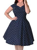 Nemidor Women's 1950s Style Cap Sleeve Polka Dot Summer Vintage Plus Size Swing Rockabilly Dresss