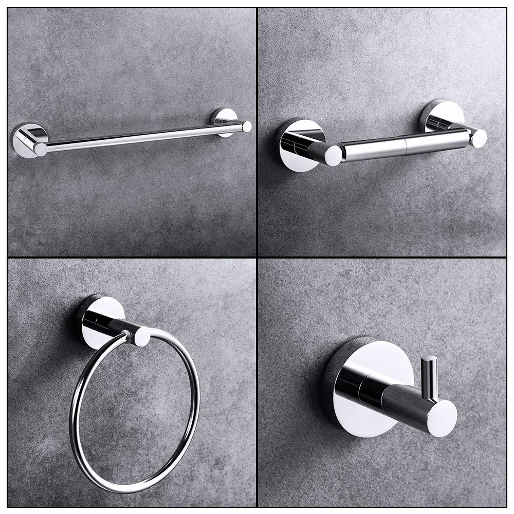 """LUCKUP 4 Piece Bathroom Accessory Set, Towel Bar Accessory Set, Include 24'' Towel Bar, Robe Hook,6.6"""" Towel Ring, and 7"""" Toilet Paper Holder, 304 Stainless Steel Wall Mounted,Polished Chrome …"""