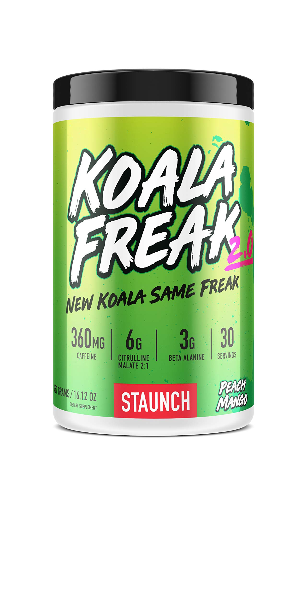 Staunch Koala Freak 2.0 Pre-Workout (Peach Mango) 30 Servings - Effective, High Quality Pre-Workout Powder