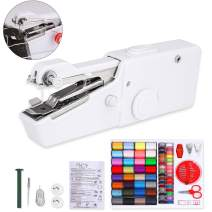 Handheld Sewing Machine and Sewing Thread Kit, Mini Portable Electric Sewing Machine and 28 Colors Sewing Thread Set, Small Cordless Quick Handy Stitch for Beginner (White)