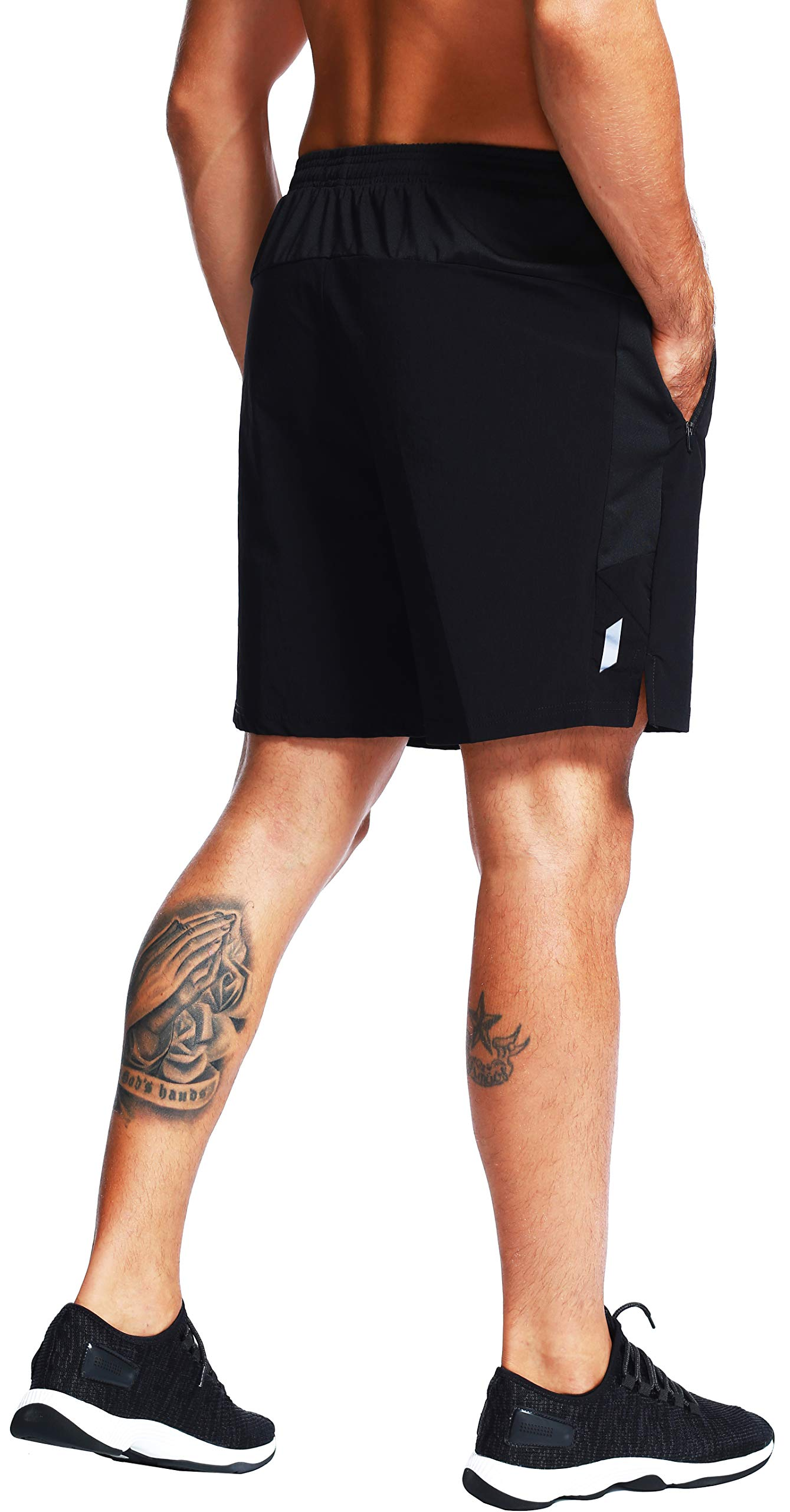 """Akilex Men's 7"""" Quick Dry Woven Shorts for Outdoor Athletic Running Workout Training Lightweight Breathable Zipper Pockets"""