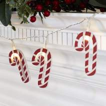 Lights4fun, Inc. 10 Wooden Candy Cane Battery Operated LED Indoor Christmas String Lights