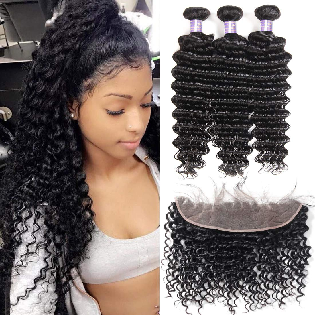 Allove Hair 8a Brazilian Deep Wave Bundles with Frontal (14 16 18+12) Unprocessed Virgin Human Hair Weave Wet and Wavy Bundles with Ear to Ear Frontal Lace Closure with Baby Hair Natural Black