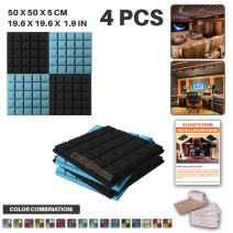 Acepunch 4 Pack - 2 pcs Black and 2 pcs Baby Blue Hemisphere Grid Acoustic Foam Panel DIY Design Studio Soundproofing Wall Tiles Sound Insulation with Free Mounting Tabs 19.6 X 19.6 X 1.9 in AP1040