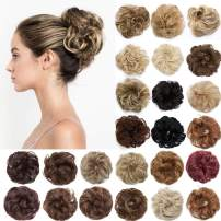 S-noilite Hair Bun Extensions Messy Wavy Curly Dish Donut Scrunchie Hairpiece Accessories Chignons Updo Ponytail Pony Tail Synthetic Hair Extension for Women/40G 1 Count 27T613