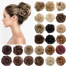 S-noilite Hair Bun Extensions Messy Wavy Curly Dish Donut Scrunchie Hairpiece Accessories Chignons Updo Ponytail Pony Tail Synthetic Hair Extension for Women/30G 1 Count 27T613