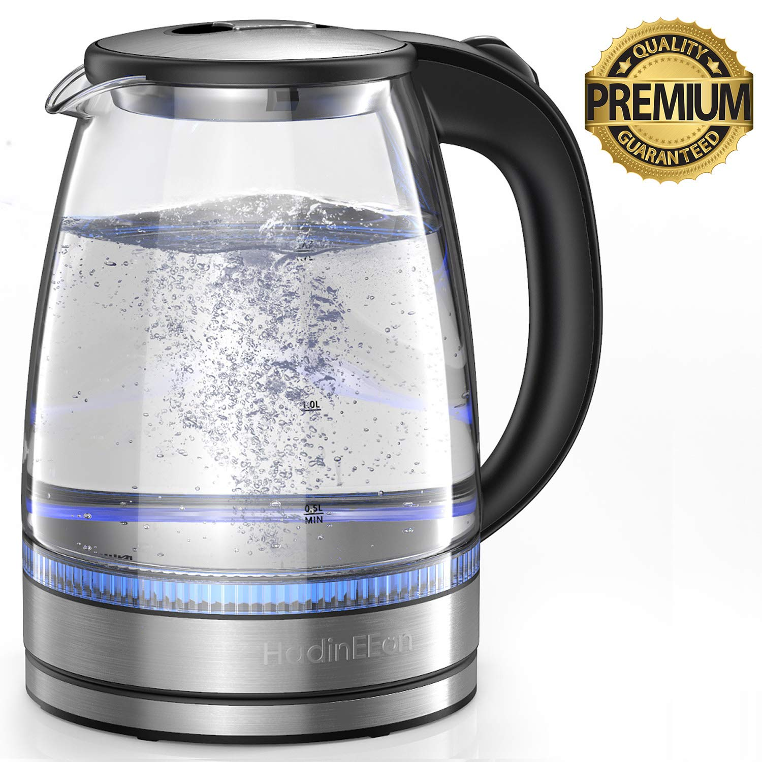 HadinEEon Electric Kettle 1.7L Glass Electric Tea Kettle (BPA Free) Cordless Teapot, Portable Electric Hot Water Kettle with Auto Shutoff Protection, Stainless Steel Lid & Bottom