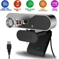 Webcam with Microphone, Full HD 1080P External USB Pro Web Camera, Streaming Video Calling and Recording for PC, Laptop & Desktop Camera, Wide-Angle View & 360° Rotation, Low Light