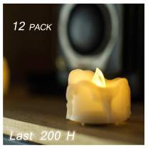 12 Battery Operated Flameless LED Tea Lights with Timer Realistic Flickering Electric Tealight Votive Candles Set Bulk Baptism Wedding Party Decoration Kitchen Home Decor Centerpieces Batteries Incl.