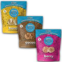 Evoke Happy Snaps, Variety Pack, 4oz, Pack Of 3 - Crispy Oat Snacks, Gluten Free, Nut Free, Low Sugar