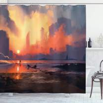 """Ambesonne Fantasy World Shower Curtain, Man on Sandy Beach with City Skyscrapers Skyline Sunset Oil Paint Graphic, Cloth Fabric Bathroom Decor Set with Hooks, 84"""" Long Extra, Orange Blue"""