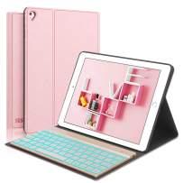 iPad Keyboard Case for iPad 6th Generation - iPad 5th Gen (9.7 inch) - iPad Air 2&1 - iPad Pro 9.7-7 Colors Backlit Detachable Keyboard - PU Leather Stand - iPad Case with Keyboard, (Rose Gold, 9,7)
