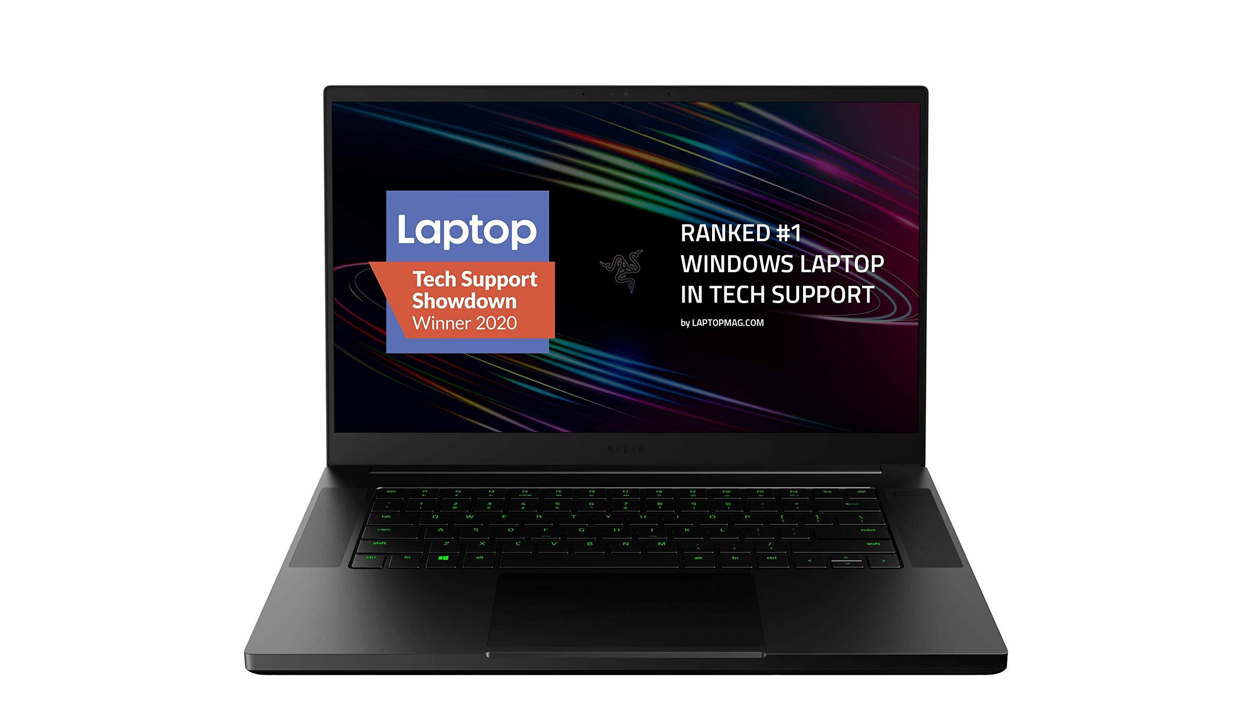 "Razer Blade 15 Base Gaming Laptop 2020: Intel Core i7-10750H 6 Core, NVIDIA GeForce RTX 2070 Max-Q, 15.6"" FHD 1080p 144Hz, 16GB RAM, 512GB SSD, CNC Aluminum, Chroma RGB Lighting, Thunderbolt 3, Black"