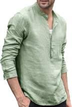 LecGee Men's Cotton Linen Henley Shirt Casual Long Sleeve Hippie T Shirt Beach Yoga Tops