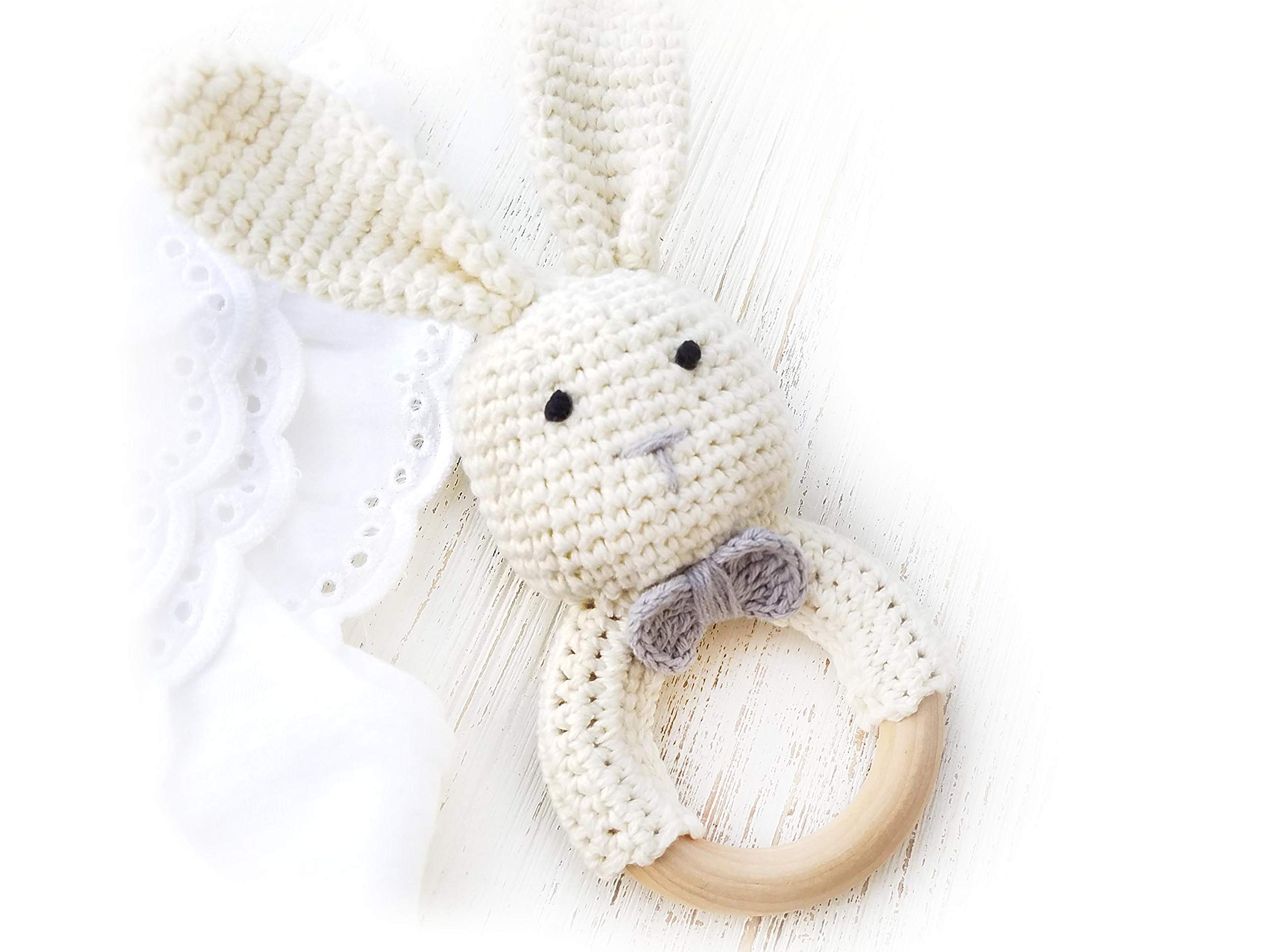 Natural Crochet Teether Toy Rattle for Baby Forest Friends Amigurumi Crochet Bunny Deer Fox on Natural Wooden Teething Ring Rattle and Beaded Pacifier Clip (Mama Bunny)